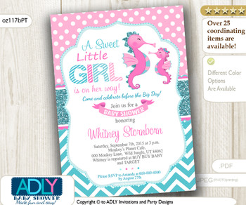 Pink Teal Seahorse Girl Baby Shower Invitation