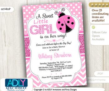 Chevron, Polka Pink Ladybug Baby Shower Digital Invitation