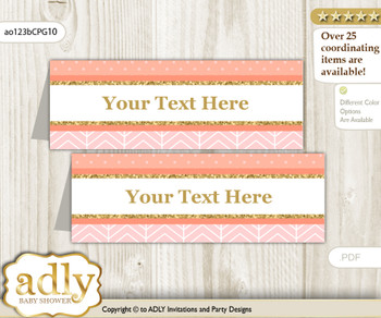 DIY Text Editable Printable Baby Girl Buffet Tags or Food Tent Labels  for a Baby Shower or Birthday , Peach Pink, Glitter