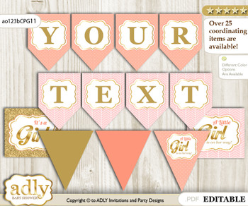 DIY Personalizable Baby Girl Printable Banner for Baby Shower, Peach Pink, Glitter