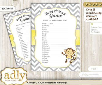 Printable Boy Girl Monkey Baby Animal Game, Guess Names of Baby Animals Printable for Baby Monkey Shower, Yellow Grey, Chevron