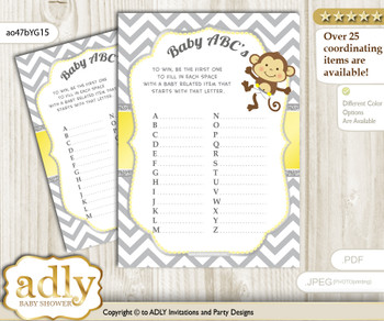 Boy Girl Monkey Baby ABC's Game, guess Animals Printable Card for Baby Monkey Shower DIY – Chevron