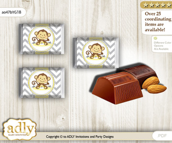Boy Girl Monkey Chocolate Nuggets Candy Wrapper Label for Baby Boy Girl Shower  Yellow Grey , Chevron
