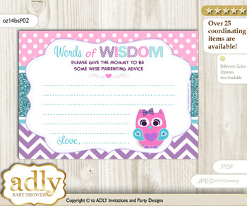 Pink Teal Girl Owl Words of Wisdom or an Advice Printable Card for Baby Shower, Purple