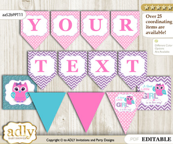 DIY Personalizable Girl Owl Printable Banner for Baby Shower, Pink Teal, Purple