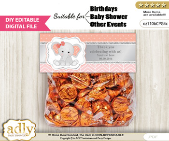 DIY Text Editable Peanut Elephant Goodie  Treat Bag Toppers, Favor Bag Digital File, print at home