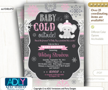 Baby Pink, Glitter Dark Grey Elephant Snowflake Invitation for Winter Baby Shower