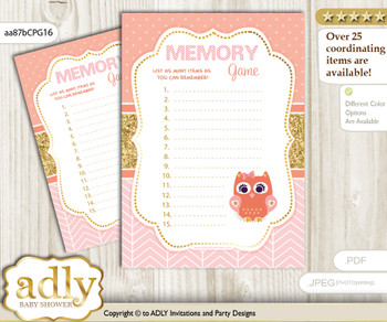 Girl Owl Memory Game Card for Baby Shower, Printable Guess Card, Coral Pink, Gold