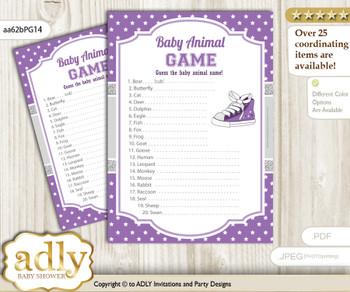 Printable Girl Sneakers Baby Animal Game, Guess Names of Baby Animals Printable for Baby Sneakers Shower, Purple Grey, Sport