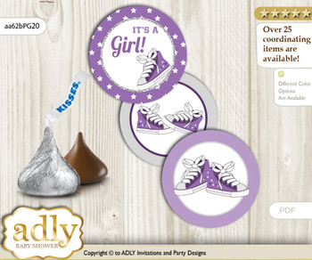 Printable  Girl Sneakers Candy Kisses for Baby Girl Shower DIY Purple Grey , Sport