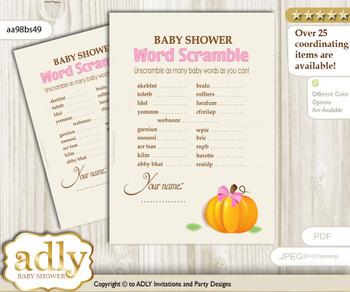 Girl Pumpkin Word Scramble Game for Baby Shower