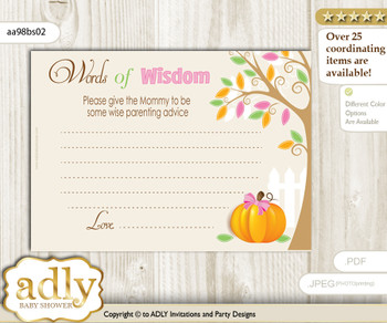 Lime Pink Girl Pumpkin Words of Wisdom or an Advice Printable Card for Baby Shower, Fall