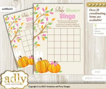 Printable Lime Pink Pumpkin Bingo Game Printable Card for Baby Girl Shower DIY grey, Lime Pink, Fall