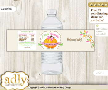 Girl Pumpkin Water Bottle Wrappers, Labels for a Pumpkin  Baby Shower, Lime Pink, Fall
