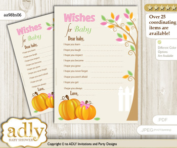 Girl Pumpkin Wishes for a Baby, Well Wishes for a Little Pumpkin Printable Card, Fall, Lime Pink