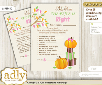 Printable Girl Pumpkin Price is Right Game Card for Baby Pumpkin Shower, Lime Pink, Fall