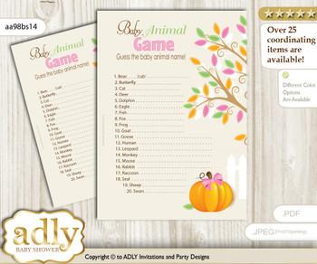 Printable Girl Pumpkin Baby Animal Game, Guess Names of Baby Animals Printable for Baby Pumpkin Shower, Lime Pink, Fall
