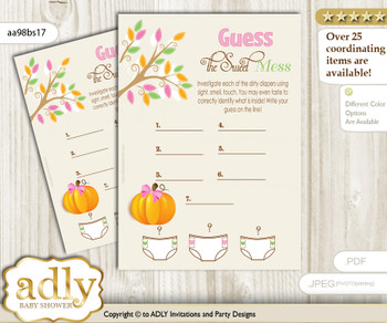 Girl Pumpkin Dirty Diaper Game or Guess Sweet Mess Game for a Baby Shower Lime Pink, Fall