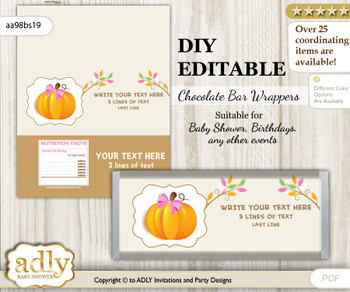 DIY Personalizable Girl Pumpkin Chocolate Bar Candy Wrapper Label for Girl  baby shower, birthday Lime Pink , editable wrappers