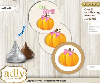 Printable  Girl Pumpkin Candy Kisses for Baby Girl Shower DIY Lime Pink , Fall