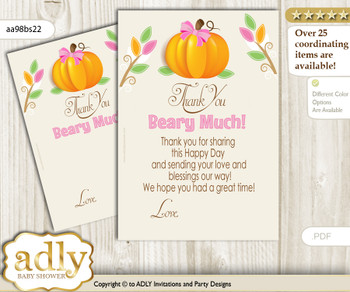 Girl  Pumpkin Thank you Cards for a Baby Girl Shower or Birthday DIY Lime Pink, Fall