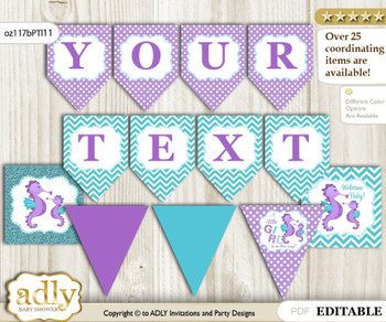 DIY Personalizable Girl Seahorse Printable Banner for Baby Shower, Purple Teal, Summer