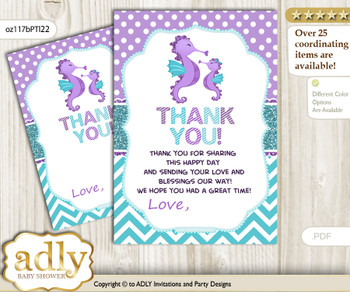 Girl  Seahorse Thank you Cards for a Baby Girl Shower or Birthday DIY Purple Teal, Summer