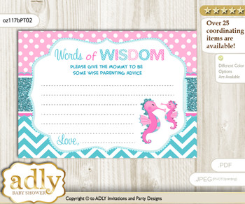 Pink teal Girl Seahorse Words of Wisdom or an Advice Printable Card for Baby Shower, Glitter