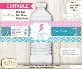 DIY Text Editable Girl Seahorse Water Bottle Label, Personalizable Wrapper Digital File, print at home for any event  n