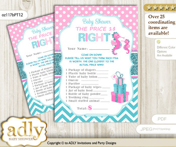 Printable Girl Seahorse Price is Right Game Card for Baby Seahorse Shower, Pink teal, Glitter
