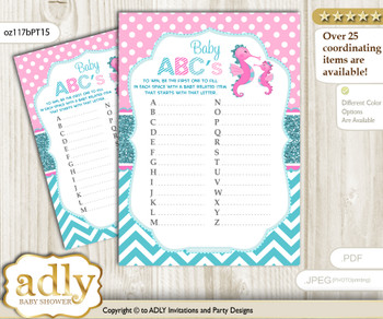 Girl Seahorse Baby ABC's Game, guess Animals Printable Card for Baby Seahorse Shower DIY – Glitter