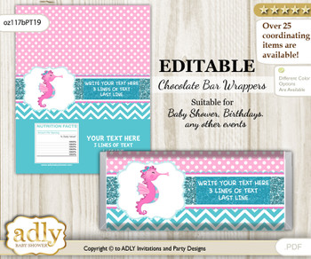 DIY Personalizable Girl Seahorse Chocolate Bar Candy Wrapper Label for Girl  baby shower, birthday Pink teal , editable wrappers