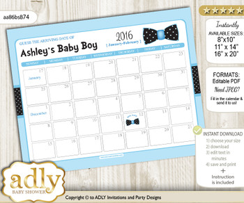 Boy Bow tie Guess Due Date Calendar for Baby Shower, Predictions Printable, baby arrival date, Blue Black, Dots - aa86bsB74
