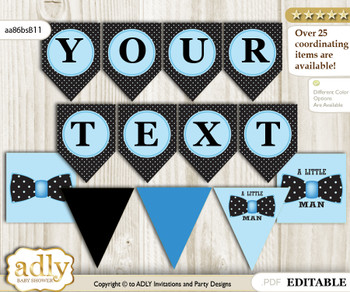 Boy Bow tie DIY Personalizable Banner Printable for Baby Bow tie Shower, birthday– Dots -aa86bsB11