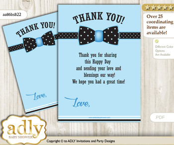 Boy Bow tie Thank you Card Printable for Baby Boy Shower or Birthday DIY Blue Black, Dots - aa86bsB22