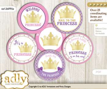 Baby Shower Royal Princess Cupcake Toppers Printable File for Little Royal and Mommy-to-be, favor tags, circle toppers, Crown, Purple Pink
