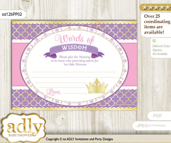 Purple Pink Royal Princess Words of Wisdom or an Advice Printable Card for Baby Shower, Crown