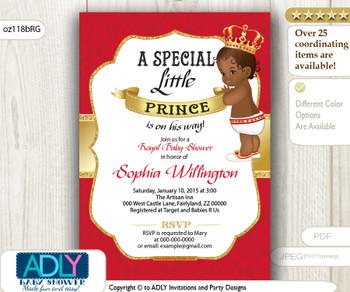 Red Gold African American Prince King Invitation for Baby Shower