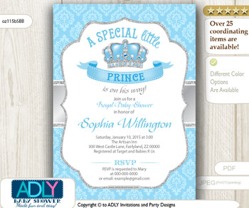 Baby Blue Silver Grey Prince King Invitation for Baby Shower