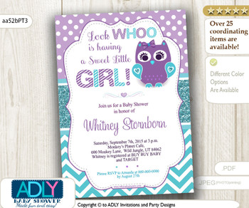 Look Whoo is having Sweet Little Girl, Teal, Turquoise Purple Owl Invitation for Baby Shower