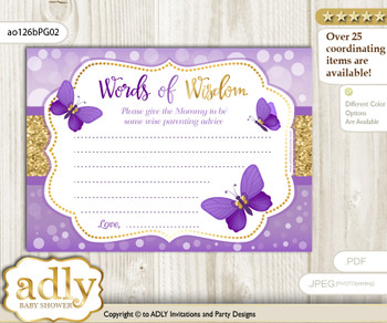 Purple Gold Girl Butterfly Words of Wisdom or an Advice Printable Card for Baby Shower, Kisses