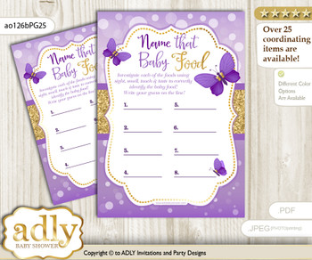 Girl Butterfly Guess Baby Food Game or Name That Baby Food Game for a Baby Shower, Purple Gold Kisses