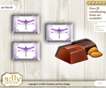 Girl Dragonfly Chocolate Nuggets Candy Wrapper Label for Baby Girl Shower  Purple Grey , Bokeh