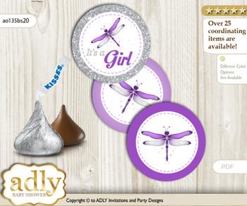 Printable  Girl Dragonfly Candy Kisses for Baby Girl Shower DIY Purple Grey , Bokeh