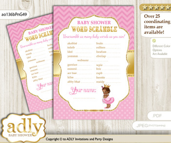 African Princess Word Scramble Game for Baby Shower  nnn