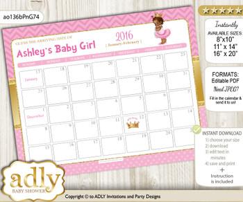 DIY African Princess Baby Due Date Calendar, guess baby arrival date game nnn