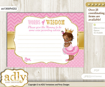 Crown African Princess Words of Wisdom or an Advice Printable Card for Baby Shower, Chevron