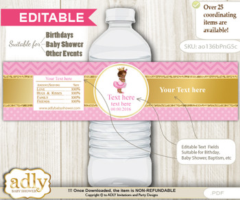 DIY Text Editable African Princess Water Bottle Label, Personalizable Wrapper Digital File, print at home for any event  nnn