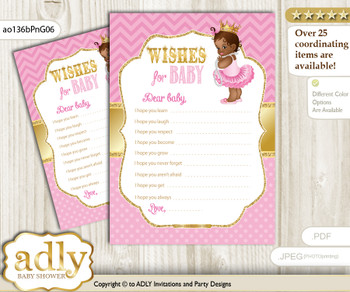 African Princess Wishes for a Baby, Well Wishes for a Little Princess Printable Card, Chevron, Crown