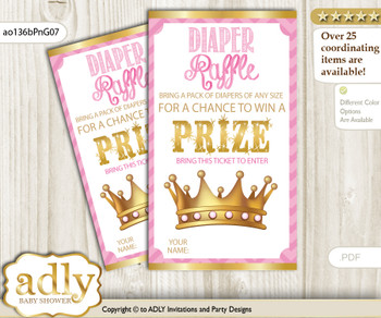 African Princess Diaper Raffle Printable Tickets for Baby Shower, Crown, Chevron